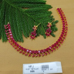 CZ & Ruby Stones Flowers & Leaves Design With Pearls Drop Gold Plated Finish Haram Set Buy Online