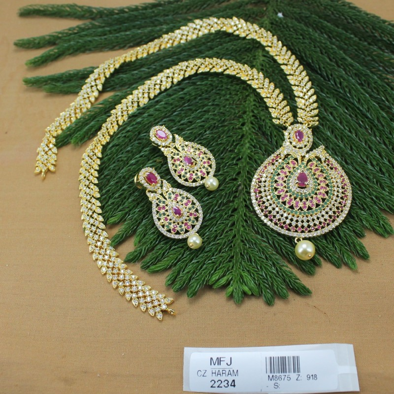 Cz Ruby Emerald Stones Flowers Leaves Jumki Design Gold Plated Earrings With