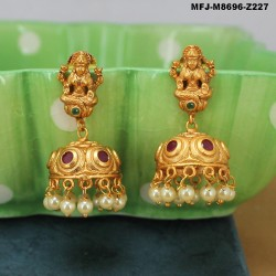 CZ, Ruby & Emerald Stones Flowers & Leaves Design With Pearl Drops Gold Plated Finish Jumki Buy Online