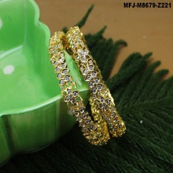 CZ, Ruby & Emerald Stones Butterfly, Flowers & Leaves Design Gold Plated Finish Hair Clip Buy Online