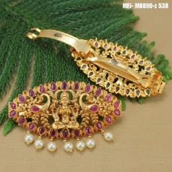 Kundan, Ruby & Emerald Stones Lakshmi & Thilakam Design With Pearls Drop Mat Finish Headset Buy Online
