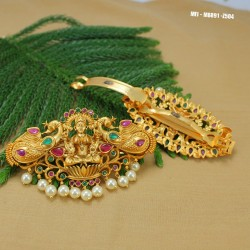 Ruby & Emerald Stones Lakshmi, Leaves & Flowers Design With Pearls Drop Mat Finish Headset Buy Online