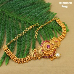 CZ & Ruby Stones Peacock Design Gold Plated Finish Hair Clip Buy Online