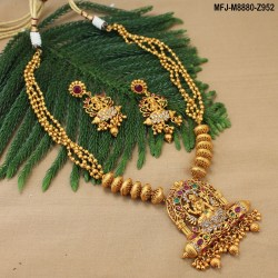 Ruby & Emerald Stones Peacock, Flowers & Leaves Design With Pearls Drop Mat Finish Jumki Buy Online