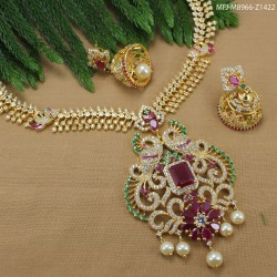 CZ & Ruby Stones Flowers Design Gold Plated Finish Mattel Buy Online