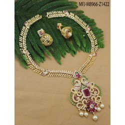 CZ & Ruby Stones Peacock & Flowers Design With Pearls Drop Gold Plated Finish Headset Buy Online