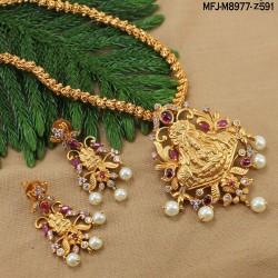 CZ Flowers Design With Pearl Drop Gold Plated Finish Headset Buy Online