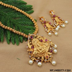 CZ & Ruby Stones Flowers, Leaves & Thilakam Design With Pearls Drop Gold Plated Finish Headset Buy Online