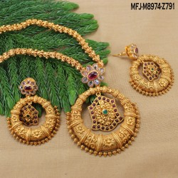 CZ, Ruby & Emerald Stones Flowers, Leaves & Thilakam Design With Pearls Drop Gold Plated Finish Headset Buy Online