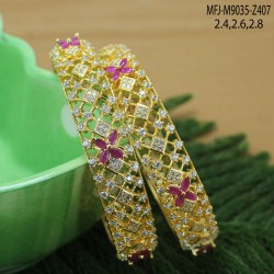 CZ & Ruby Stones Flower Design Gold Plated Finish Pendant Set Buy Online