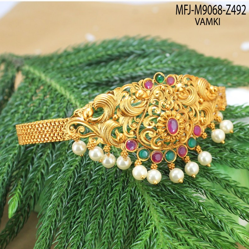 668468225 1 Gram Gold Dip Ruby   Emerald Stones Designer Necklace Set Buy Online