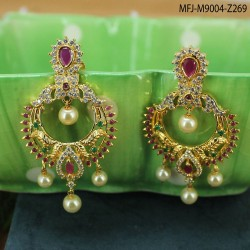 Ruby & Emerald Stones Lakshmi & Flowers Design With Pearls Drop Mat Finish Pendant Set Buy Online