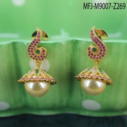 CZ & Ruby Stones Peacock Design With Pearl Drops Saree Pin Buy Online