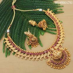 CZ, Ruby & Emerald Stones Flowers & Leaves Design With Pearls Drop Mat Finish Earrings Buy Online