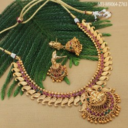 CZ, Ruby & Emerald Stones With Pearl Drops Leaves & Thilakam Design Gold Plated Finish Jumki Buy Online