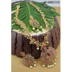 Ruby Stones Flowers Design With Drop Gold Plated Finish Necklace Set Buy Online