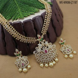 Ruby & Emerald Stones Leaves Design With Drop Gold Plated Finish Necklace Set Buy Online