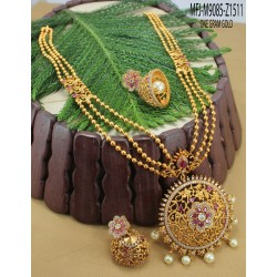 Ruby Stones Leaves Design Gold Plated Finish Choker Necklace Set Buy Online