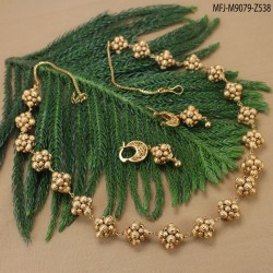 CZ Stones Flowers & Leaves Design With Drop Gold Plated Finish Necklace Set Buy Online
