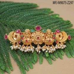 Black CZ Stones Thilakam Design Gold Plated Finish Necklace Set Buy Online