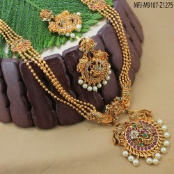 CZ Stones Flowers Design With Drop Gold Plated Finish Necklace Set Buy Online