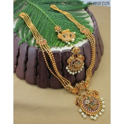 CZ Stones Leaves Design With Drop Gold Plated Finish Necklace Set Buy Online