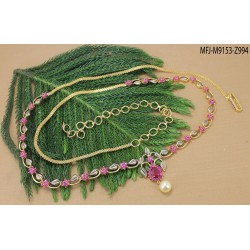 Ruby & Emerald Stones Flowers Design With Drop Gold Plated Finish Necklace Set Buy Online