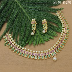 Ruby Stones Flowers Design With Drop Gold Plated Finish Haram Set Buy Online
