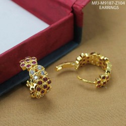 CZ, Ruby & Emerald Stones With Pearls Drop Mango Design Gold Plated Finish Combo Bridal Set Buy Online