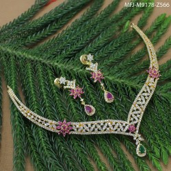 CZ, Ruby & Emerald Stones Peacock, Flowers & Leaves Design Gold Plated Finish Hair Clip Buy Online