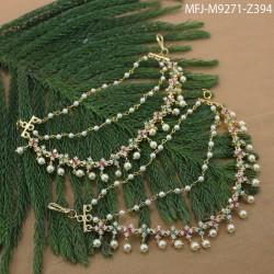 Kundan, Ruby & Emerald Stones Thilakam & Flowers Design Mat & Black Metal Finish Earrings Buy Online