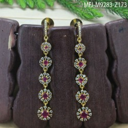 2.4 Size CZ, Ruby & Emerald Stones Flowers Design Gold Plated Finish Bangles Buy Online