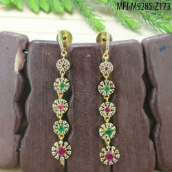 2.4 Size CZ & Ruby Stones Two Lines Design Gold Plated Finish Bangles Buy Online