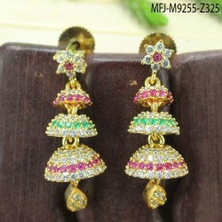 2.4 Size CZ, Ruby & Emerald Stones Three Lines Design Gold Plated Finish Bangles Buy Online
