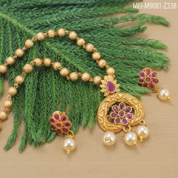 Ruby Stones Flowers & Leaves Design Gold Plated Finish Kada Buy Online
