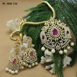 Ruby & Emerald Stones Flowers Design With Pearls Drop Gold Plated Finish Earrings Buy Online