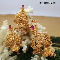 CZ & Emerald Stones Flowers & Leaves Design Gold Plated Finish Earrings Buy Online