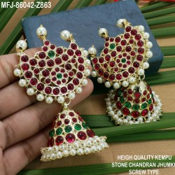CZ Stones Flowers Design Gold Plated Earrings With CZ, Ruby, Emerald, Blue Sapphire & Honey Colour Changeable Stones Buy Online
