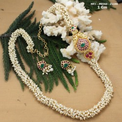 CZ, Ruby & Emerald Stones With Two Pearls Lines Leaves Design Gold Plated Finish Mattel Buy Online