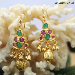CZ, Ruby & Emerald Stones With Two Lines Pearls Leaves Design Gold Plated Finish Mattel Buy Online