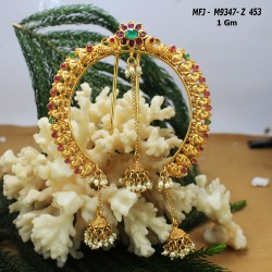 CZ, Ruby & Emerald Stones With Two Lines Pearls Flowers Design Gold Plated Finish Mattel Buy Online