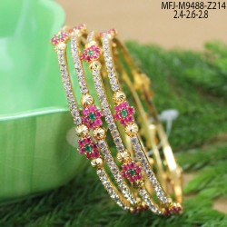 CZ & Ruby Stones Peacock & Leaves Design With Pearls Drops Gold Plated Finish Necklace Set Buy Online