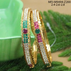 CZ, Ruby & Emerald Stones Peacock & Leaves Design With Pearls Drops Gold Plated Finish Necklace Set Buy Online