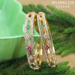Ruby & Emerald Stones Flowers, Thilakam & Peacock Design Mat Finish Mini Haram Set Buy Online