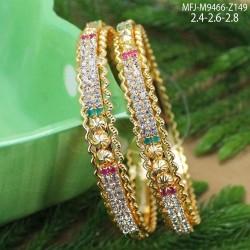 Oval Shaped Ruby & Emerald Stones Lakshmi, Elephant & Peacock Design Mat Finish Haram Set Buy Online