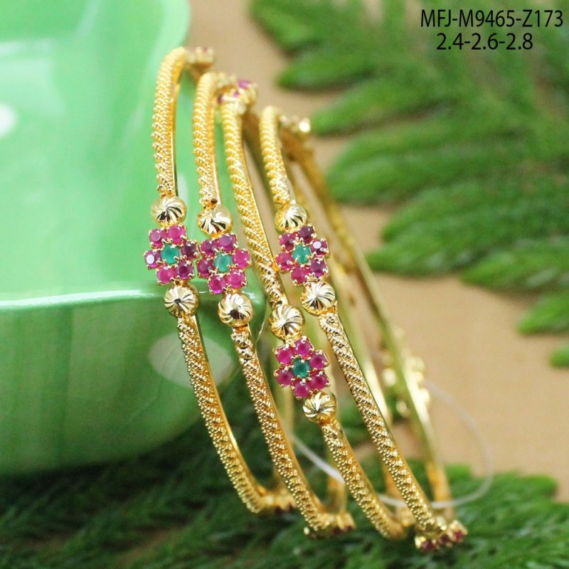 CZ, Ruby & Emerald Stones Flowers & Thilakam Design With Pearls Drop Gold Plated Finish Necklace Set Buy Online