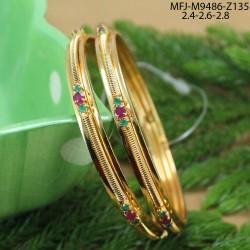 Ruby & Emerald Stones Flowers Design Gold Plated Finish Haram Set Buy Online