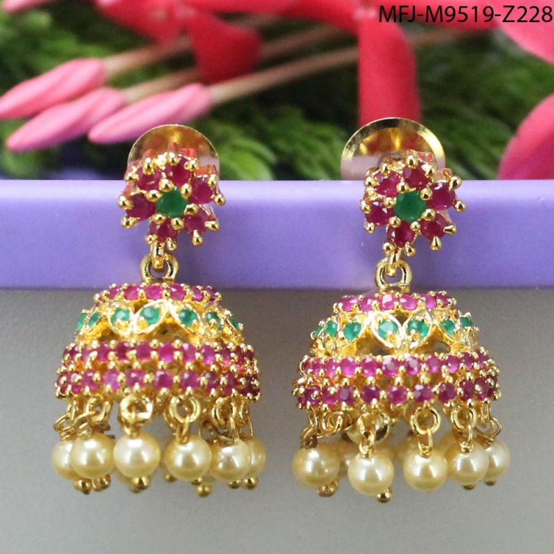 CZ, Ruby & Emerald Stones Flowers & Leaves Design Gold Plated Finish Haram Set Buy Online