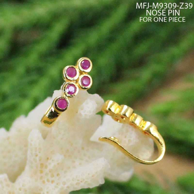 9c4f1e018 CZ   Ruby Stones Peacock   Flowers Design With Pearl Drop Gold ...