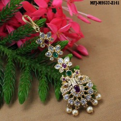 Ruby & Emerald Stones Flower Design With Pearls Drop Mat Finish Saree Pin Buy Online